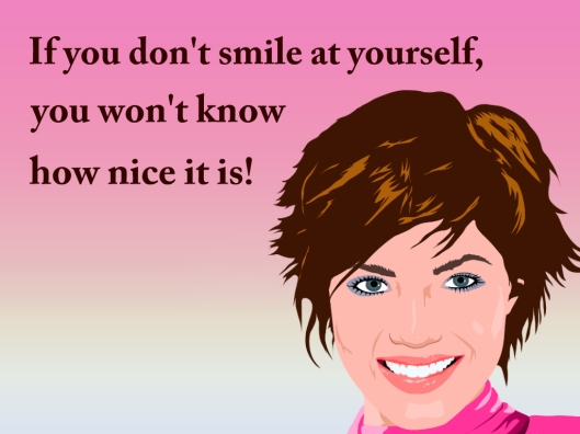Smiling lady with smile quote